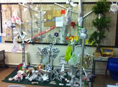 The Tin Forest display. The children made the props for homework! I think the parents got a bit competitive:) CS Reading Display, New Class, Crafty Kids, Classroom Displays, Environmental Art, Eyfs, Literacy, Tin, Display Boards