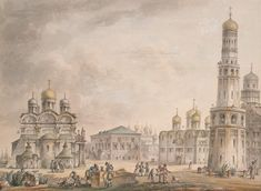 Archangel Cathedral in Moscow's Cathedral Square on left front with the bell tower on right front in Watercolor by Giacomo Quarenghi in 1797. Burial site of age 4 Tsarevich Simeon Alexeyevich Romanov (3 April 1665-18 Jun 1669) Russia, 11th child of Tsar Alexei I Mikhailovich Romanov (1629-1676) & 1st wife Tsaritsa Maria Ilyinichna Miloslavskaya (1625-1669). Drawing located in 2017 at State Hermitage Museum in Russia.