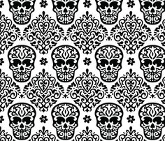 Skull Diamond Black on White fabric by mariafaithgarcia on Spoonflower - custom fabric  Love DOTD! Love refined prints like damask! Combine two opposing concepts, and watch the magic emerge!