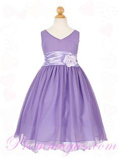 V Neck Chiffon Flower Trimmed Pink Childrens Bridesmaid Dresses