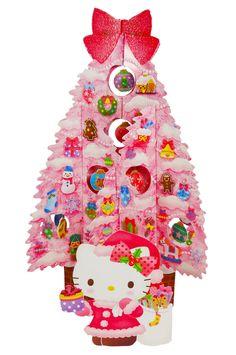 Hello Kitty Pink Christmas Tree Pop Up Greeting Card / Christmas Card - SANRIO #Sanrio #ChristmasTree #Christmas