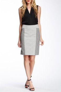 Rachel Roy Paneled Herringbone Pencil Skirt