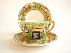 Marutomoware Teacup Trio - Art Deco Tea Cup Cottage Ceramic.Etsy.
