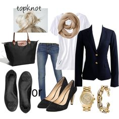 Navy blazer, white tee and jeans & Longchamp Le Pliage tote. Perfect outfit of the day