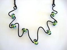 WIRE and GLASS STATEMENT Necklace Black Lime by BeadFarmonEtsy, $28.00