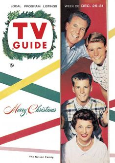 """TV Guide - December 25 - 31, 1954 Ozzie, Harriet, David and Ricky Nelson - Stars of """"The Adventures of Ozzie and Harriet""""."""