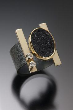 BLACK DRUSY BAR RING Oxidized Sterling Silver, 18k and 22k Gold, Black Drusy Quartz and White Diamonds Beth Solomon