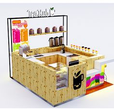 FacStore| Quiosque para Shopping Tea Hub Tea Restaurant, Restaurant Design, Kiosk Design, Cafe Design, Stand Design, Booth Design, Mall Kiosk, Bubble Tea Shop, Concept Shop