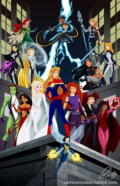 Disney Ladies meet Marvel Super Heroines. Snow White: Wasp Aurora: Captain Marvel Elsa: Emma Frost (White Queen) Merida: Hawkeye (Kate Bishop) Megara: Black Widow Esmeralda: Scarlet Witch Jasmine: Elektra Belle: She Hulk Rapunzel: Sue Storm Mulan: Psylocke Pocahontas: X23 Cinderella: Mockingbird Tiana: Storm Ariel: Hope Summers Anna: Valkyrie