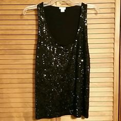 J. Crew Sequin  Tank This black sequined tank from J. Crew is in perfect condition. Sequins are all intact and are on the front only. J. Crew Tops Tank Tops