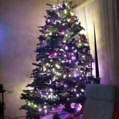 Our pink and purple Christmas tree.