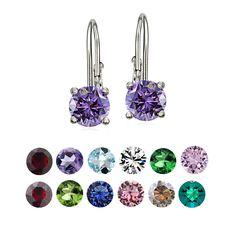 Crystal Ice Sterling Silver Swarovski Elements Birthstone Leverback Earrings (December - Blue Zircon), Women's, Size: Small, White