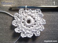 MyPicot Club:  A tutorial of two flower patterns crocheted in Irish crochet technique