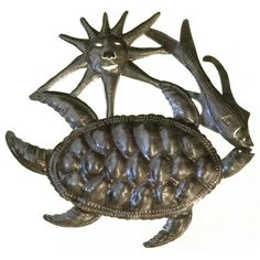 Le Primitif Galleries Haitian Recycled Steel Oil Drum Outdoor Decor, 14 by 14-Inch, Turtle/Fish and Sun Le Primitif Galleries http://www.amazon.com/dp/B00IGRLXO6/ref=cm_sw_r_pi_dp_fLbcxb1Z8DBRW