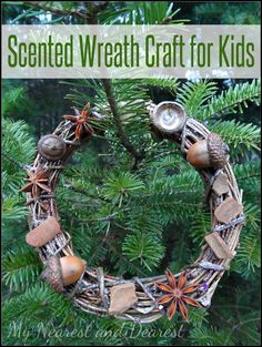 Scented Wreath Craft for Kids from My Nearest and Dearest blog. A beautiful Christmas keepsake or winter decoration made using natural materials.