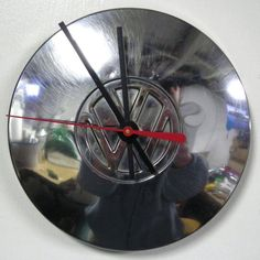 Hey, I found this really awesome Etsy listing at https://www.etsy.com/listing/39153146/volkswagen-hubcap-clock-vw-wall-clock