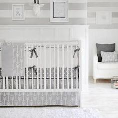 Gray Arrow Wanderlust in Gray Crib Bedding Collection
