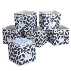 """AmazonSmile: Foldable Cloth Storage Bins Basket Durable Fabric Drawer Organizers, 12"""",Blue,6-pack: Home & Kitchen"""