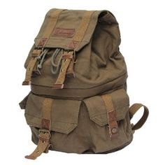 Koolertron Canvas Vintage DSLR SLR Camera Backpack Rucksack Bag With Waterproof Rain Cover For Sony Canon Nikon Olympus Have Special Position For Notebook Computer Laptop (Green) Best Quality Camera, Best Camera, Perfect Camera, Rucksack Backpack, Canvas Backpack, Messenger Bag, Camera Backpack, Camera Bags, Camera Gear