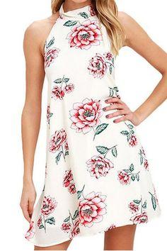 White Halter Neck Random Floral Print Dress  from mobile - US$15.95 -YOINS