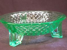 Imperial Green Depression Glass 3 Footed Open Candy Dish Diamond Quilted 414 #Imperial
