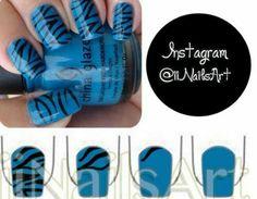 Blue black zebra print nails
