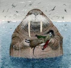 Котобой на Северном полюсе  Гуашь,бумага, 35х36 см, 2011г. Clever media group Морж