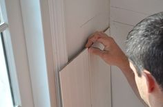 step by step beadboard installation How To Install Beadboard, Installing Wainscoting, Beadboard Wainscoting, Chalk Paint Tutorial, Kitchen Eating Areas, Mobile Home Renovations, Mobile Home Decorating, Decorating Ideas, Baseboard Molding