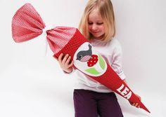 Schultüten - Schultüte mit Vogel und Pilz - ein Designerstück von josefines-kinder bei DaWanda