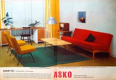 Askon keskiaukeamamainos vuodelta 1957 Floor Chair, Nostalgia, Couch, Flooring, Furniture, Home Decor, Settee, Decoration Home, Sofa