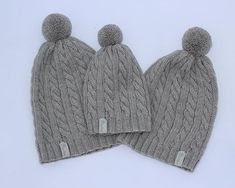 Hand knitted merino wool bobble hats for baby mommy and daddy.  dewknit   etsyshop 5c2791697e97
