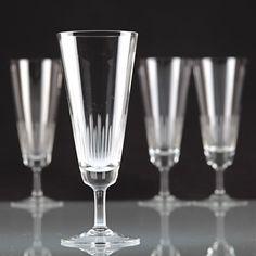4 Vintage Sektgläser Linien Schliff Gravur Kristall Gläser ~ 60er Jahre K26