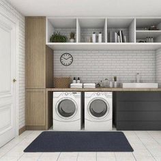 7 Small Laundry Room Design Ideas - Des Home Design Outdoor Laundry Rooms, White Laundry Rooms, Modern Laundry Rooms, Laundry Room Layouts, Laundry Room Remodel, Laundry Room Cabinets, Basement Laundry, Laundry Room Signs, Farmhouse Laundry Room