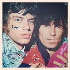 Mick Jagger with skin jewels and Keith Richard