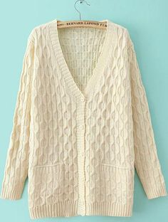Shop Beige V Neck Long Sleeve Cable Knit Sweater online. Sheinside offers Beige V Neck Long Sleeve Cable Knit Sweater & more to fit your fashionable needs. Free Shipping Worldwide!