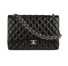 526ccf5d44b8 Snag this iconic bag in classic black and silver  a Chanel maxi classic  double flap