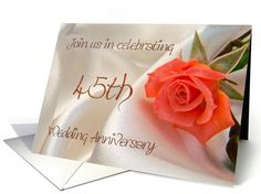 Red rose Anniversary Invitation, 45th Card