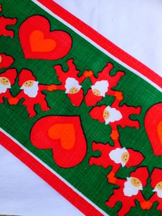 60s christmas midcentury vintage table runner, retro with scandinavian pattern, Made in Sweden in the 60s, swedish design