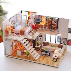 Details about DIY Loft Apartments Dollhouse Wooden Dust Cover Kit LED Christmas Birthday Gifts in 2019 Diy Dollhouse, Wooden Dollhouse, Miniature Dollhouse, Dollhouse Design, Dollhouse Furniture, Miniature Crafts, Tiny House Living, Living Room, Living Area