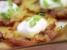 Roasted, Smashed and Loaded Potatoes from FoodNetwork.com  My family and I love this recipe.  Yummmy
