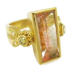 Tourmaline and diamond ring in gold by artist Julie Rauschenberger. I Love Jewelry, Jewelry Art, Jewelry Rings, Jewelry Design, Fashion Jewelry, Designer Jewelry, Lanvin, Artisan Jewelry, Handcrafted Jewelry