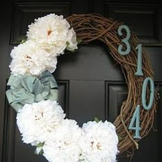 wreath with house number Linda Bauwin CARD-iologist Helping you create cards from the heart