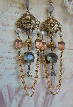 Vintage glass pastel jewels and pearl chandelier by Purrrls, $28.00