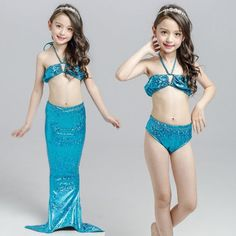 Little Kids Cosplay Swimsuit Mermaid Costume Bikini With Mermaid Tail Princess Dress For Little Girl Swimming Suit Clothing 3pcs