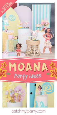 Don't miss this beautiful Moana birthday party! The birthday cake is gorgeous! See more party ideas and share yours at CatchMyParty.com Girls Birthday Party Themes, Birthday Drinks, Moana Birthday Party, Moana Party, Girl Birthday, Birthday Parties, Birthday Cake, Tropical Party Foods, Hawaiian Luau Party