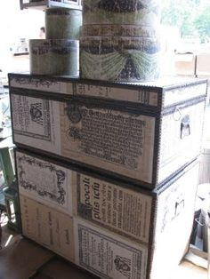 Trunks covered in French Papers serve 4 purposes....Like Glade it is a breath of fresh air, it is decorative, it is storage/organizational and it is recycling!!!