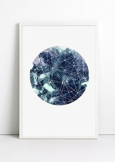 Geometric Art Moon Galaxy Sky Space Stars Print Geometric Watercolor Art…