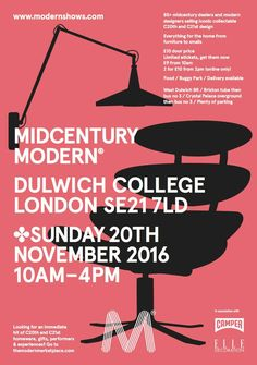 This Sunday, 20th November Midcentury Modern Show Dulwich || the ultimate shopping experience for Midcentury & design lovers || our stand is upstairs in the main Christison Hall - see you there @modernshow