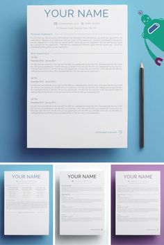 Two Page Curriculum Vitae Design Template - United Kingdom (Blue,Black & Purple) For MS Word. Instant Download