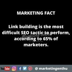 Link building is the most difficult SEO tactic to perform, according to of marketers. Seo Marketing, Digital Marketing, Search Engine Optimization, Acting, Facts, Building, Link, Buildings, Construction